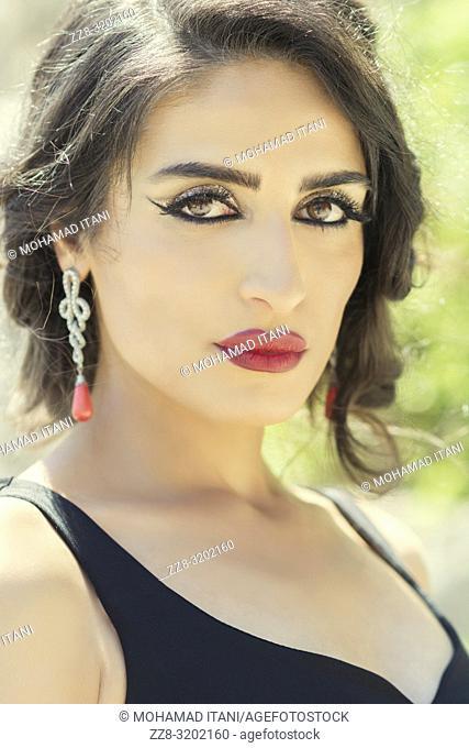 Beautiful woman staring outdoors