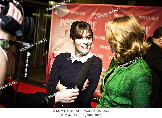 Actresses Deborah Francois and Melanie Bernier being interviewed at the Kino International during French Film Week in Berlin, Germany