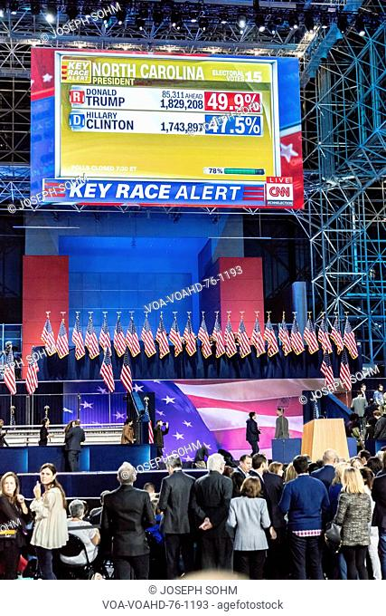 NOVEMBER 8, 2016, Election Night at Jacob K. Javits Center - venue for Democratic presidential nominee Hillary Clinton election night event New York, New York