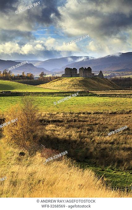 Ruthven Barracks near Newtonmore in the Cairngorms National Park, captured using a telephoto lens on an atmospheric afternoon in early November