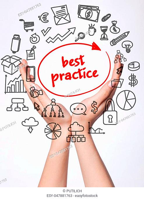 Technology, internet, business and marketing. Young business woman writing word:best practice