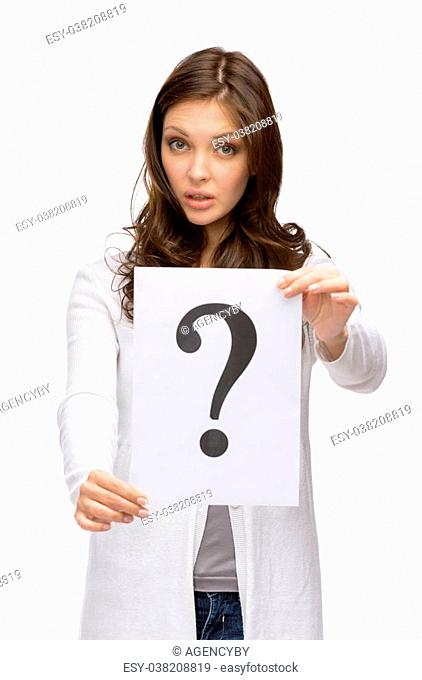 Half-length portrait of amazed girl handing question mark, isolated on white. Concept of problem and possible solution