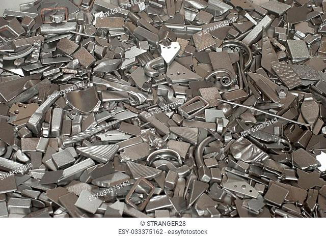 Pieces of different metallic parts for recycling