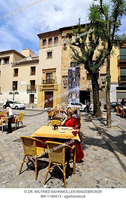 Restaurant in front of Casa de los Tiros, Granada, Andalusia, Spain, Europe
