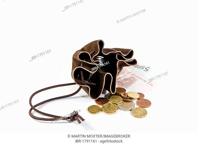 Suede moneybag with euro banknotes and coins