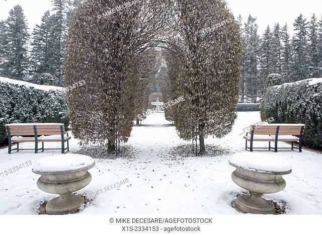 Winter scenes against a blanket of snow in Spokane Manito Park