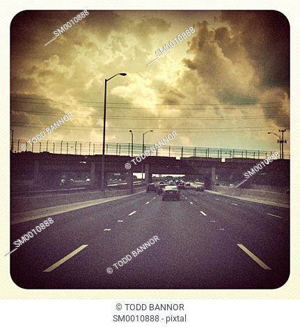 Westbound on the Eisenhower Expressway, Interstate 290, Chicago, Illinois