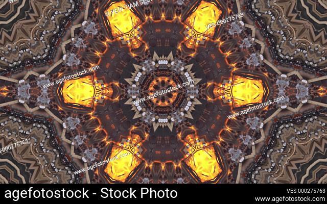 Kaleidoscope fire in furnace burn. 4k abstract background. Animation geometric pattern