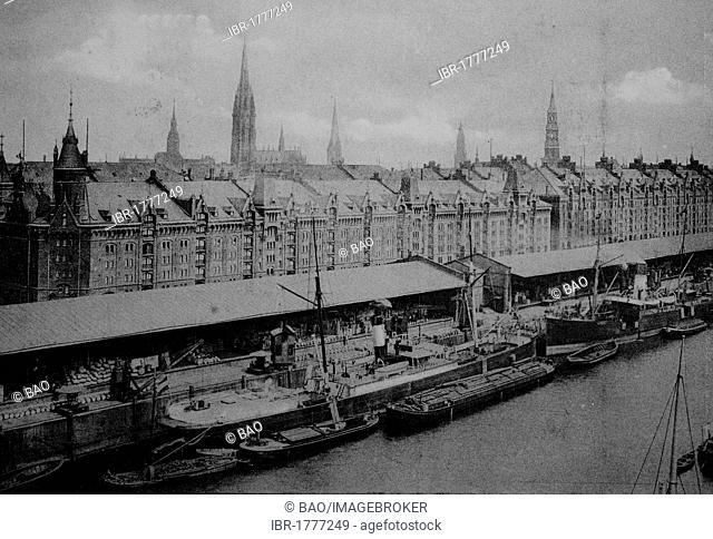 Sandtorquai quay in Hamburg, Germany, Europe, historical photo from around 1899