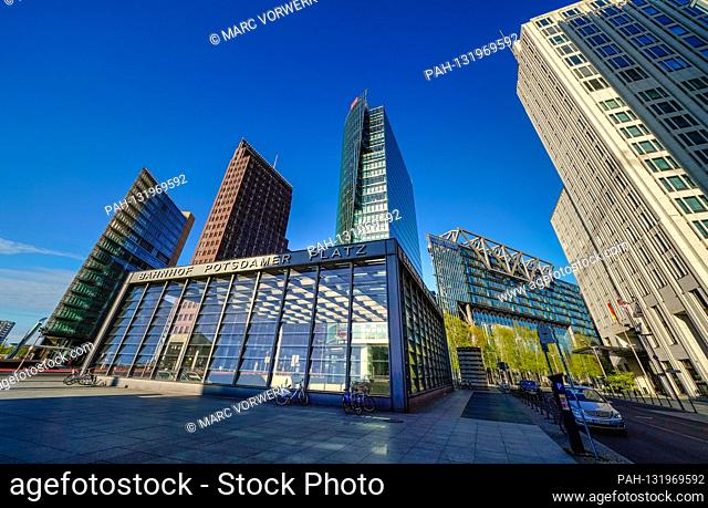 April 19, 2020, Berlin: Potsdamer Platz in Berlin withte on a beautiful spring day in wonderful imperial weather and bright blue sky with the Kollhoff Tower