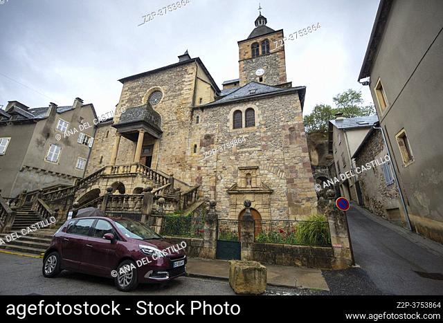 Saint-Geniez-d'Olt South of France, Aveyron Occitania on September 24, 2020 nice view of the antique medieval stone buildings . The parish church