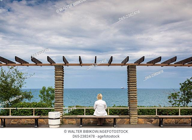 Bulgaria, Black Sea Coast, Burgas, Maritime Park, single woman visitor, NR