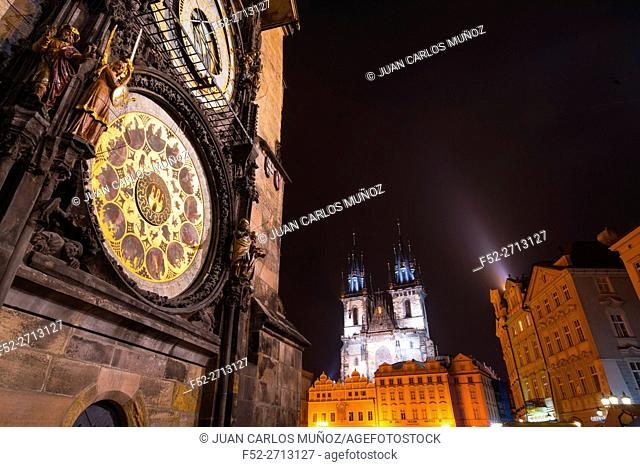 Medieval Astronomical Clock, Tower, Old Town Hall, Old Town Square, Prague, Czech Republic, Europe