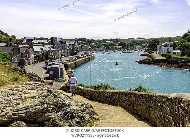 PORT DAHOUËT, BRETAGNE, FRANCE - JUNE 2015: View of the untouched estuary of the river La Flora, in the port of Dahouët on June 21, 2015