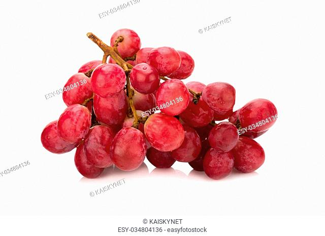 Bunch of red grapes Isolated on white background