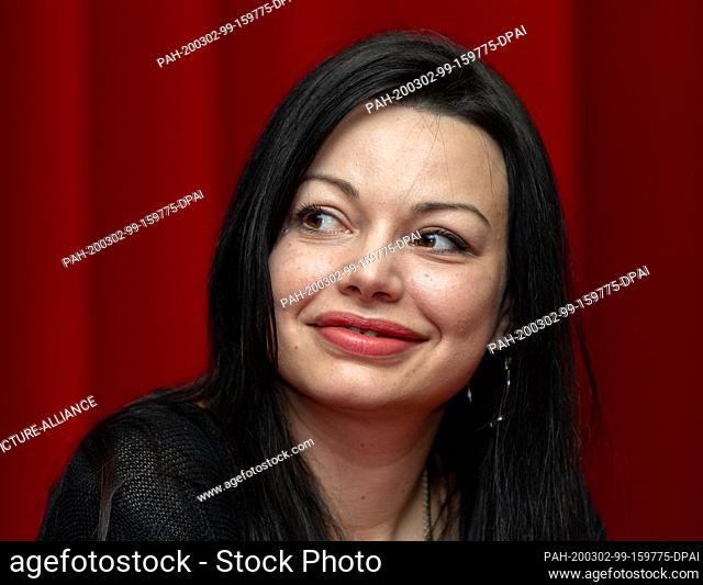 """02 March 2020, Saxony, Dresden: Actress Cosma Shiva Hagen sits on the podium at a press event of Comödie Dresden for the German premiere of """"""""Sternstunden"""""""""""