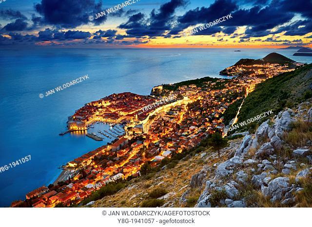 Croatia - Dubrovnik, view at Old Town City by night, Dalmatia, Croatia