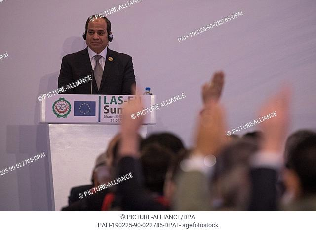 dpatop - 25 February 2019, Egypt, Sharm El-Sheikh: Egyptian President Abdel Fattah el-Sisi attends a press conference with European Union Council President...