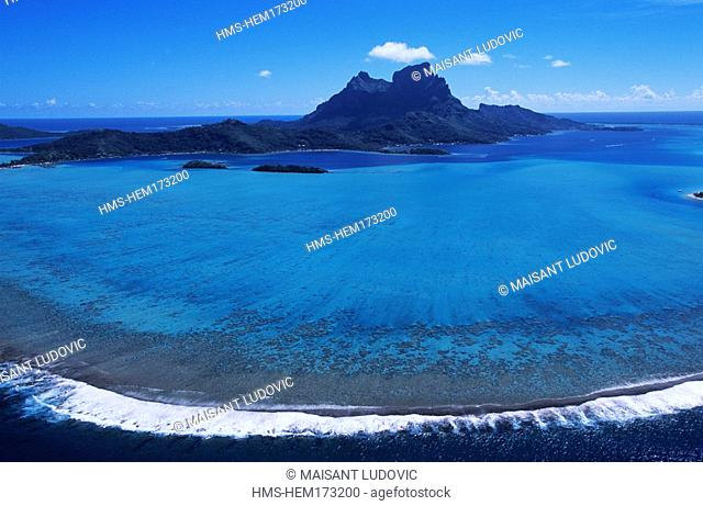 France, French Polynesia, Bora-Bora islands, aerial view