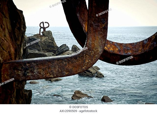 Peine Del Viento, Eduardo Chillida's Sculpture In Ondarreta Beach, San Sebastian, Basque Country, Spain