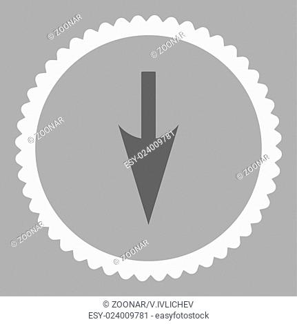 Sharp Down Arrow flat dark gray and white colors round stamp icon
