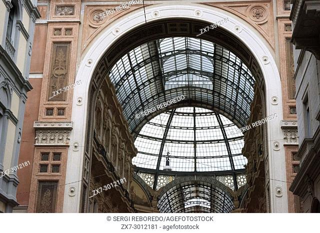 Vittorio Emanuele gallery interior, Milan, Italy. The Galleria Vittorio Emanuele II is one of the world's oldest shopping malls, Milan, Italy, Europe