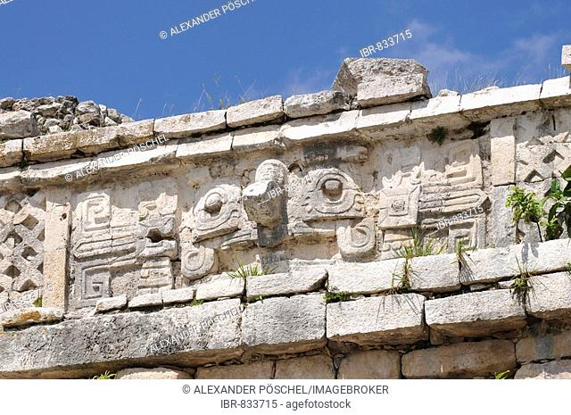 The Nunnery, detail, Zona Central, Chichen-itza, new wonder of the world, Mayan and Toltec archaeological excavation, Yucatan Peninsula, Mexico, Central America