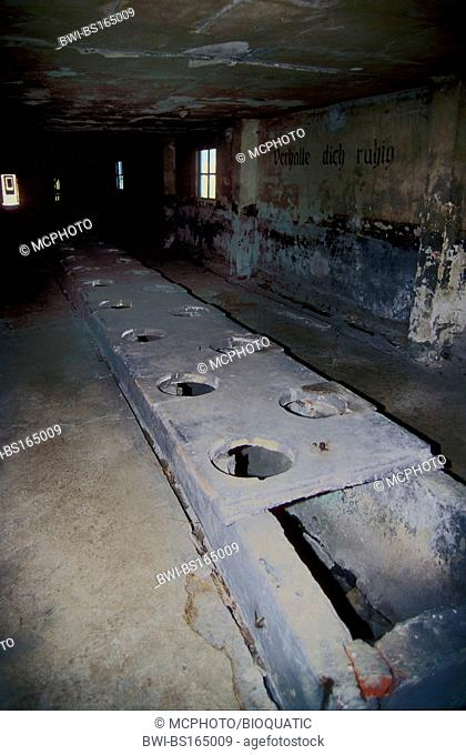 Toilet barrack in the concentration camp Auschwitz II - Birkenau. Each prisinor had 20 seconds daily to spend on the toilet., Poland, Auschwitz