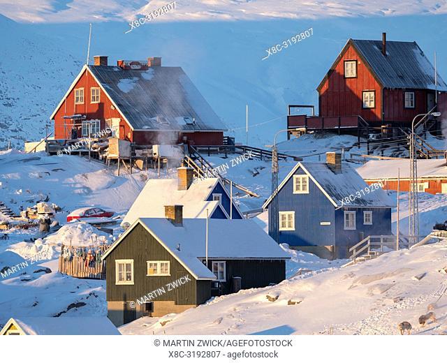 Town Uummannaq during winter in northern Greenland. America, North America, Denmark, Greenland
