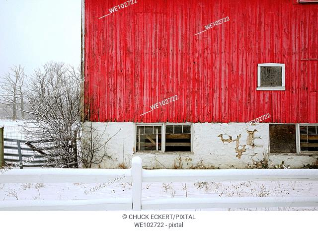 Red Barn abstract during snowstorm