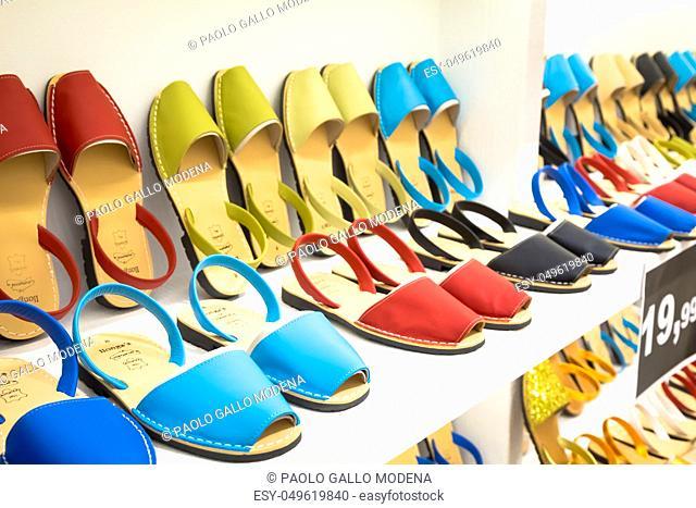 MENORCA, SPAIN - June 29, 2018: traditional Menorca sandals (named Avarca) in exposition