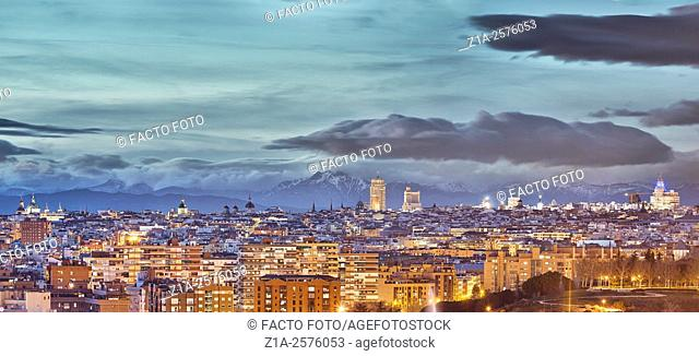 Panoramic view of the city center and Tierno Galvan park. Madrid, Spain
