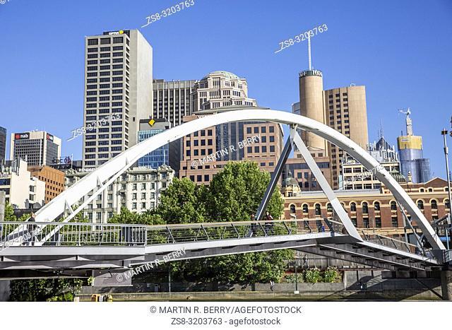 Evan Walker bridge over the Yarra River in Melbourne city centre,Victoria