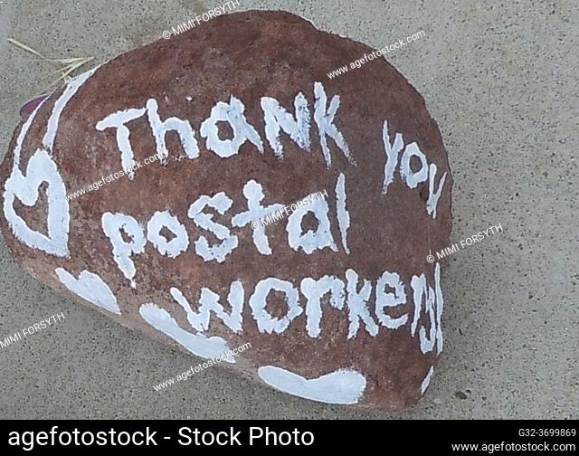 child's painted rock thanking postal workers. New Mexico