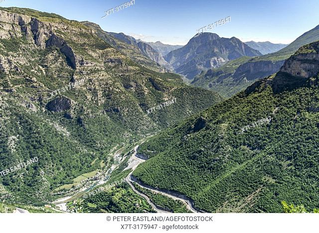 Looking down on The Cem River Valley and SH 20 road at Grabom, Kelmend in Northern Albania, just below the border with Montinegro. Albania