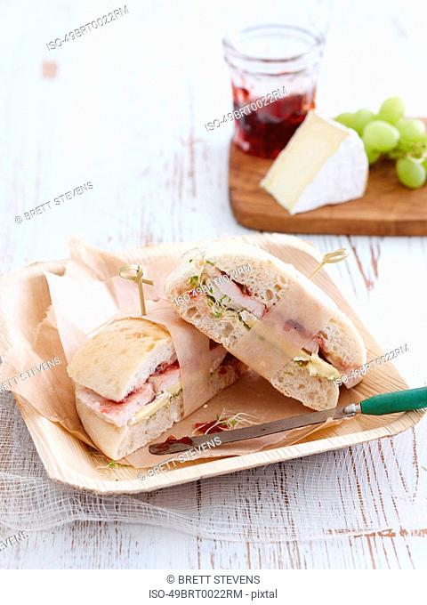 Sandwich with turkey and cranberry