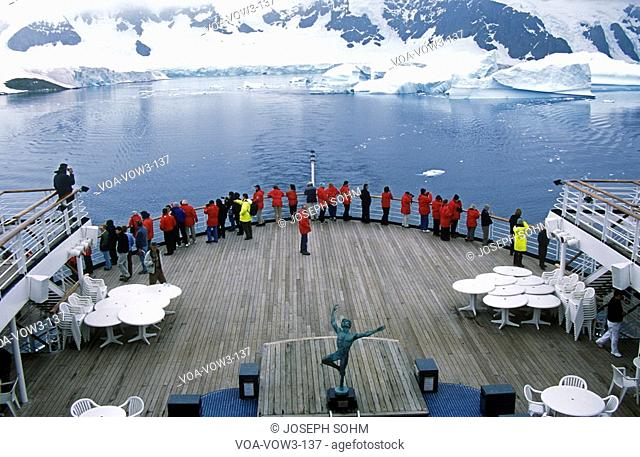 Cruise ship Marco Polo in LeMaire Harbor, Antarctica