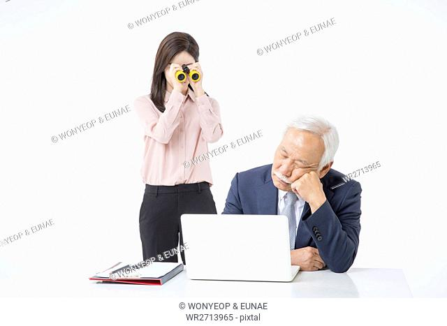 Stressful business people young and old