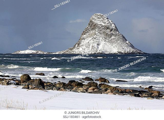 Island Bleiksoya in winter, a big puffin resort. Bleik, Andoya, Norway