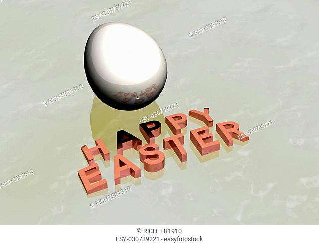 Dimensional inscription Happy Easter on white background. 3D rendering