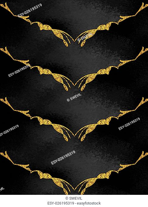 Template for design. Abstract black background with gold pattern