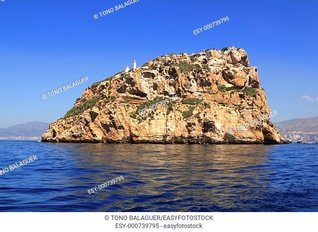 Benidorm Island north view blue sea sky Mediterranean Alicante province