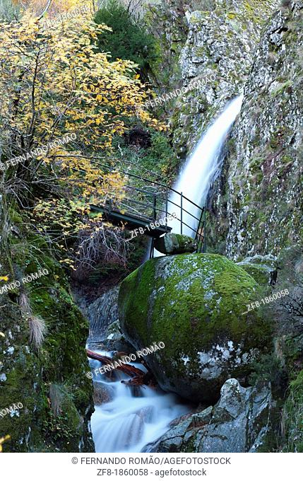 Waterfall at Estrela Mountain Natural Park, Portugal