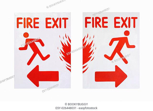 """left and right sign of """"""""fire exit"""""""" text"""