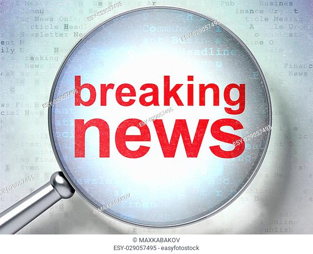 News concept: magnifying optical glass with words Breaking News on digital background, 3D rendering