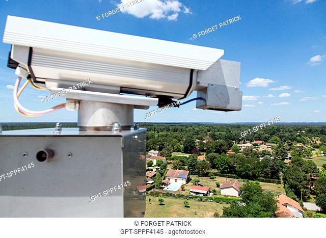 CAMERAS USED IN THE AUTOMATIC FOREST FIRE DETECTION SYSTEM ARE INSTALLED IN LOOK-OUT POSTS AND SEND IMAGES BACK TO THE COMPUTER ROOM OF THE EMERGENCY SERVICES...