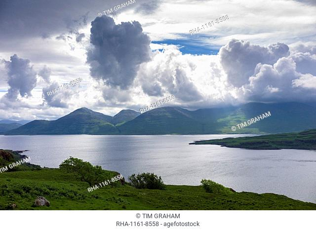 Panoramic view across Loch Na Keal to Ben More mountain on the Isle of Mull, Inner Hebrides, Western Isles, Scotland, United Kingdom, Europe