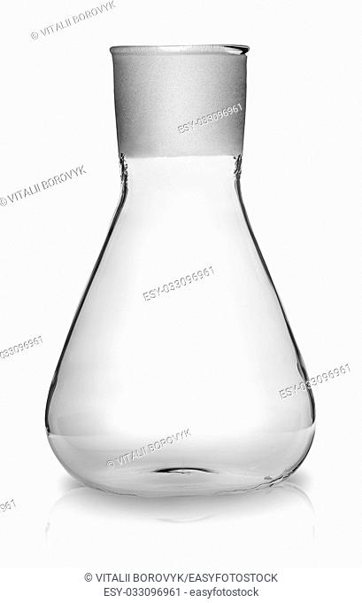 Old laboratory flask without ground glass stopper isolated on white background
