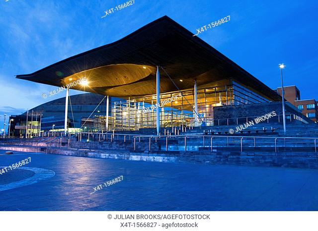 The Welsh Assembly debating chamber, or Senedd, Cardiff  Early evening shot  Wide angle  Crepuscular