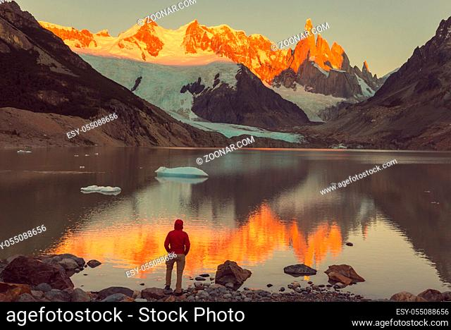 Famous beautiful peak Cerro Torre in Patagonia mountains, Argentina. Beautiful mountains landscapes in South America